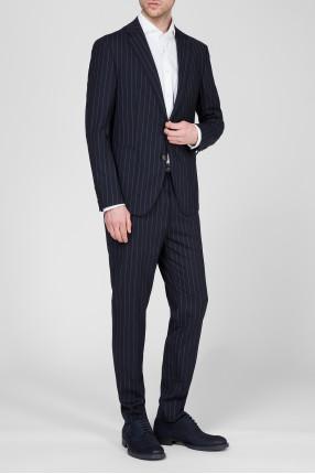Мужской темно-синий костюм в полоску (пиджак, брюки) 1