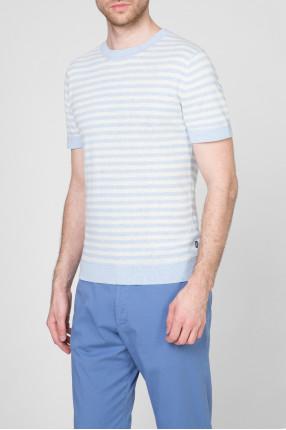 Мужская голубая футболка в полоску 1