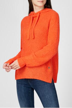Женское оранжевое шерстяное худи 1