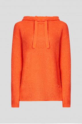 Женское оранжевое шерстяное худи