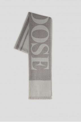 Серый шерстяной шарф с узором