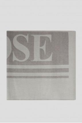 Серый шерстяной шарф с узором 1