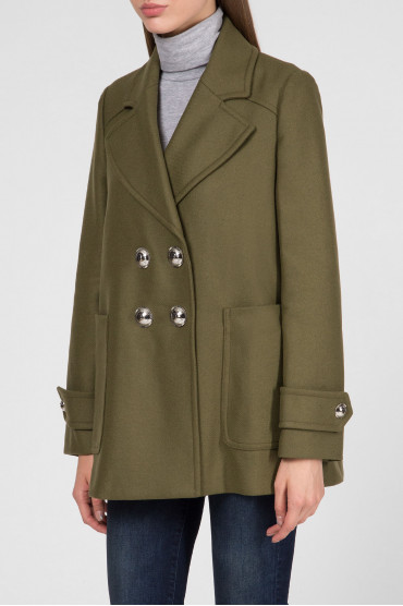 Женское зеленое шерстяное пальто 2