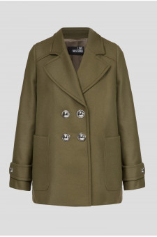 Женское зеленое шерстяное пальто