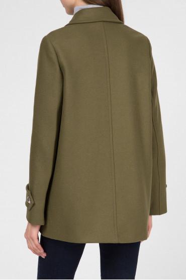 Женское зеленое шерстяное пальто 3