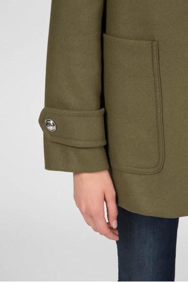 Женское зеленое шерстяное пальто 4