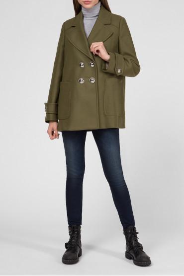 Женское зеленое шерстяное пальто 5