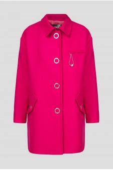 Женское розовое шерстяное пальто