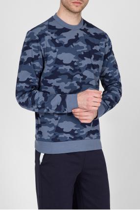 Мужской синий камуфляжный свитшот 1