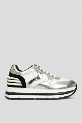 Женские серебристые замшевые кроссовки