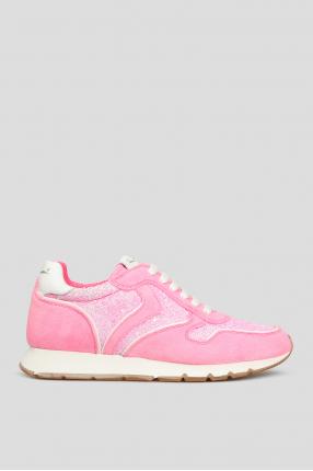 Женские розовые замшевые кроссовки