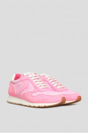 Женские розовые замшевые кроссовки 1