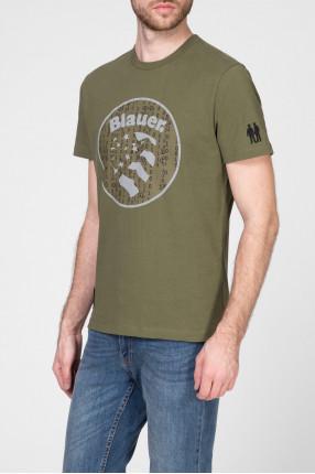 Мужская зеленая футболка с принтом 1