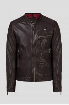 Мужская темно-коричневая кожаная куртка