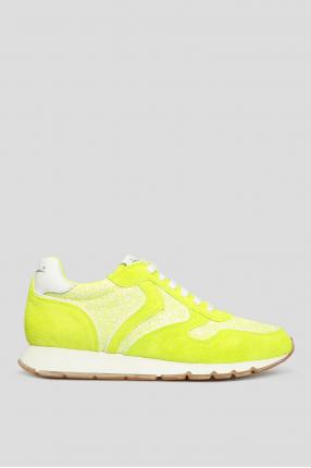Женские желтые замшевые кроссовки