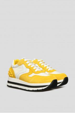 Женские желтые замшевые кроссовки 1