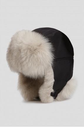 Мужская черная шапка с мехом 1