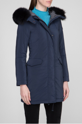 Женская синяя удлиненная куртка 1