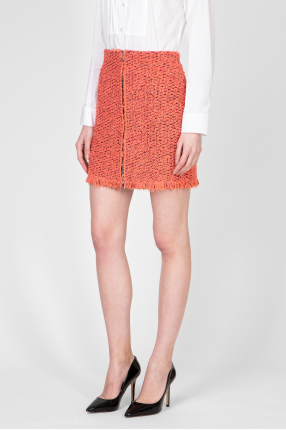 Женская коралловая твидовая юбка 1