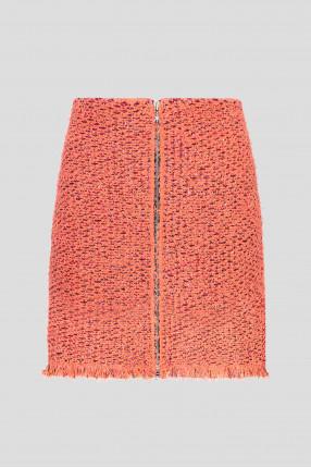 Женская коралловая твидовая юбка