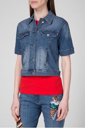 Женская синяя джинсовая куртка 1