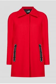 Женское красное шерстяное пальто