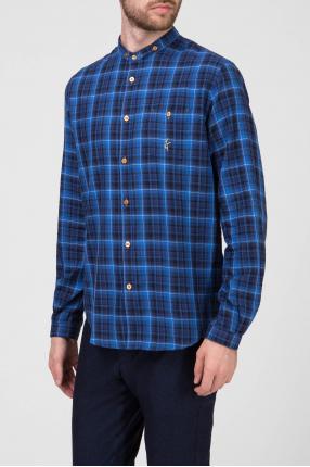 Мужская синяя рубашка в клетку 1