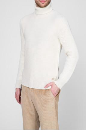 Мужской бежевый шерстяной свитер 1