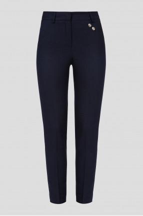 Женские темно-синие шерстяные брюки