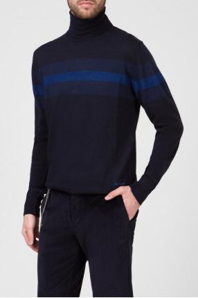 Мужской темно-синий шерстяной гольф 1