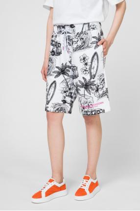 Женские белые шорты с принтом 1