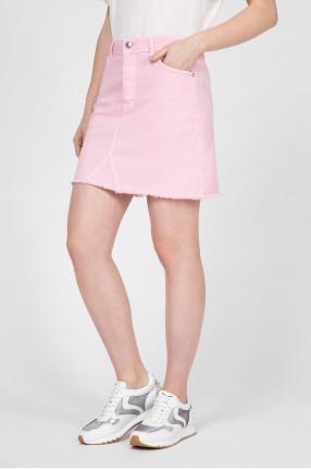 Женская розовая джинсовая юбка 1