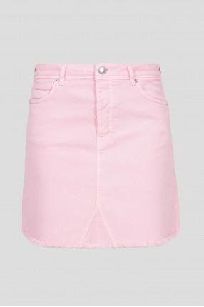 Женская розовая джинсовая юбка