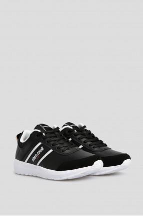 Мужские черные кожаные кроссовки  1
