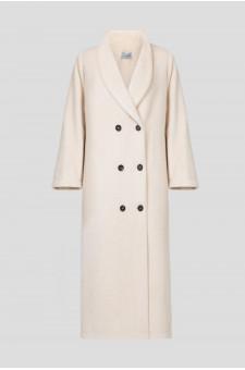 Женское бежевое шерстяное пальто