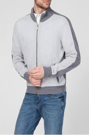 Мужской серый кашемировый кардиган 1