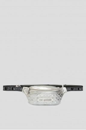 Женская серебристая поясная сумка