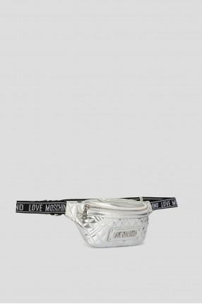 Женская серебристая поясная сумка 1