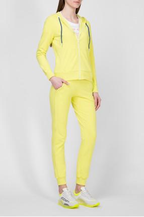 Женский спортивный салатовый костюм (худи, брюки) 1