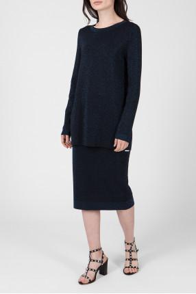 Женский темно-синий костюм (джемпер, юбка) 1