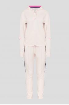 Женский пудровый спортивный костюм (худи, брюки)