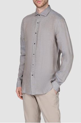Мужская серая льняная рубашка 1