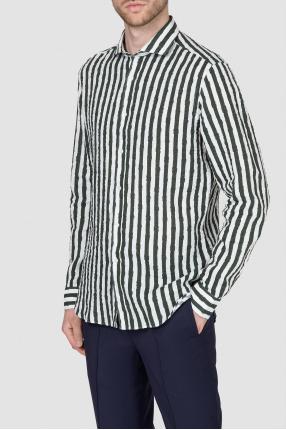 Мужская льняная рубашка в полоску 1