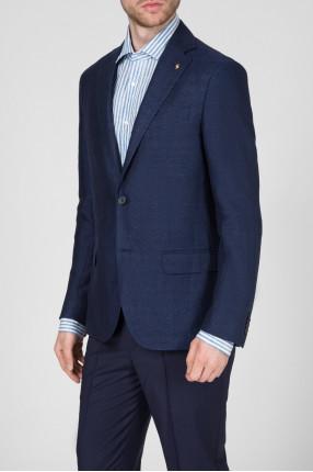 Мужской темно-синий льняной пиджак 1