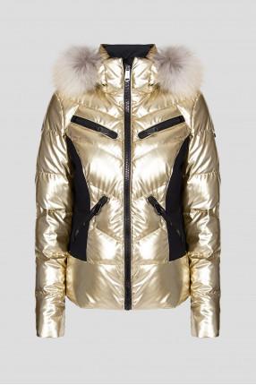Женский золотистый лыжный пуховик
