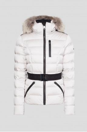 Женский белый лыжный пуховик
