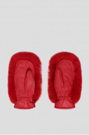 Женские красные кожаные рукавицы с мехом 1