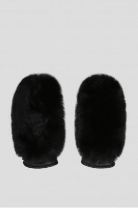 Женские черные кожаные рукавицы с мехом