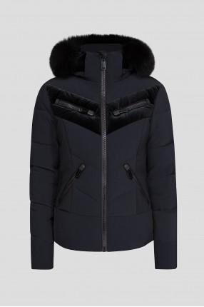 Женский черный лыжный пуховик