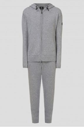 Мужской серый шерстяной костюм (худи, брюки)